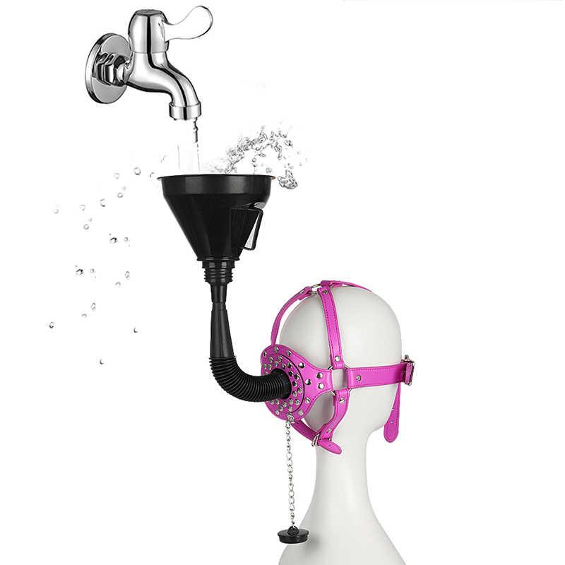 ヘッドハーネス緊縛ボンデージ漏斗ストラップ口ギャグ革黒大人のおもちゃカップルのための女性ギャグ銃口リング大人ゲーム