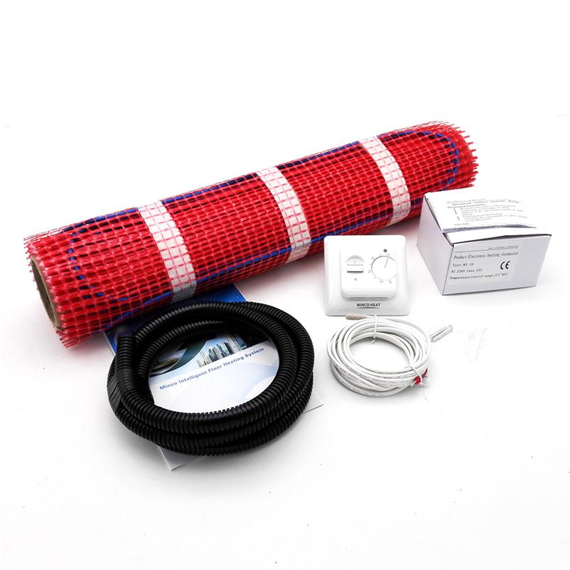 MINCO HEAT 230V 0.5 Meter Wide Electric Underfloor Heating System Under Tile Heating Mat Kits All Sizes + M5 Thermostst