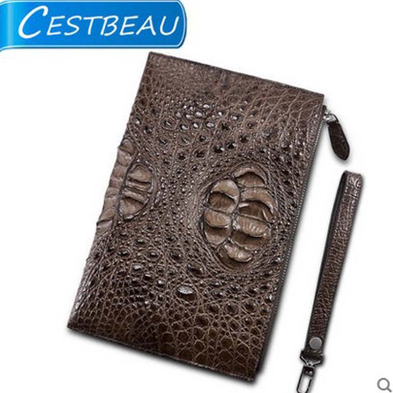 cestbeau new  large skull crocodile bag large capacity  envelope men clutch bag  men's bag