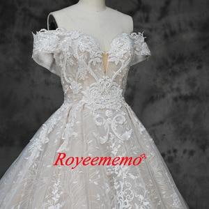 Image 3 - 새로운 럭셔리 레이스 디자인 웨딩 드레스 어깨 짧은 소매 웨딩 드레스 공장 사용자 정의 만든 도매 가격 신부 드레스
