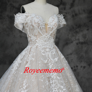 Image 3 - new luxury lace design wedding dress off the shoulder short sleeve wedding gown factory custom made wholesale price bridal dress