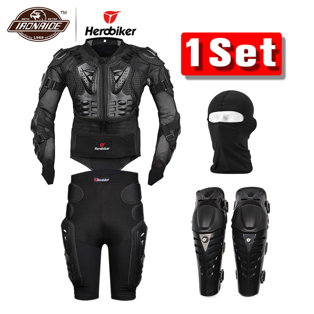 Herobiker Motorcycle Jacket Body Armor Protective Gear Shorts Pants Hip Protector Motocross Knee Pads Face Mask