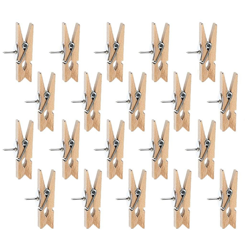 Push Pins With Wooden Clips Pushpins Tacks Thumbtacks, Creative Paper Clips With Pins For Cork Boards Notes Photos Wall And Cr
