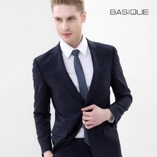 BASIQUE high quality slim 2015 spring autumn 60% wool warm 2 buttons single breasted formal black deep blue full men suit jacket