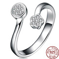 Adjustable Geometric 100% Solid 925 Sterling Silver Open Rings For Women Solid Color Zirconia Fine Jewelry Top Grade Bram Desogm