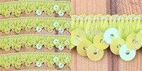 Großhandel 30 yards 1 Row Yellow Grün Elastischen Stretch Sequin 13mm Nähen Trim T142