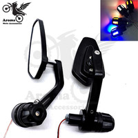 unviersal scooter side mirrors with LED moto turn siangl light motorbike bar end rearview motorcycle handlebar end mirror moto