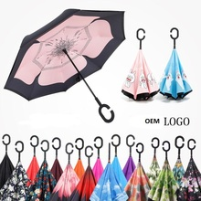 C Shape Windproof Reverse Folding Double Layer Inverted Chuva Umbrella Open/Close in the Narrowest Space without Getting Wet