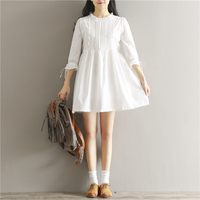 Today Plus Women White Casual Loose 3 4 Sleeve A Line Short Mini Dress Ruffled Neck