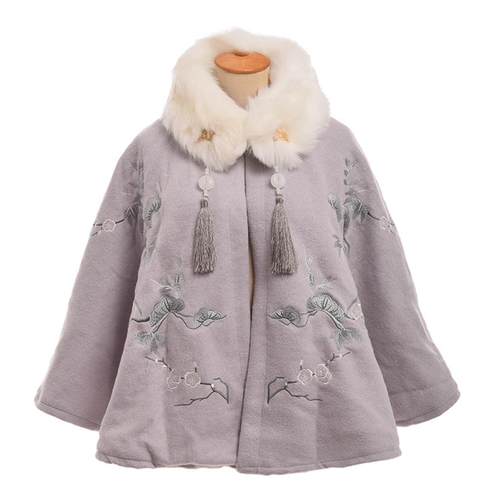 Girls Lolita Cape Cute Winter Thicken Short Cape Coat with Fake Fur Collar Outwear