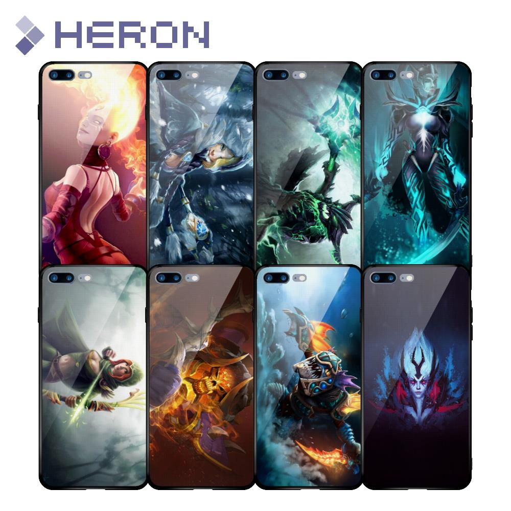 Premium Tempered Glass Case for iPhone X 6 i6 6S Plus i7 7 i8 8 Plus 4.7 5.5 5.8 Dota 2 Hero Character Back Glass Top Quality