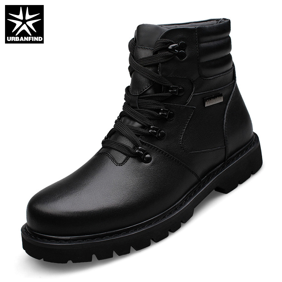 URBANFIND Winter Warm Men Leather Boots Motorcycle Boots Big Size 39-48 High Quality Man Genuine Leather Shoes With Fur Lining