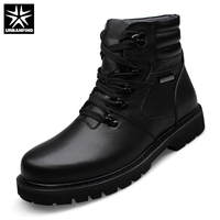 URBANFIND Winter Warm Men Leather Boots Motorcycle Boots Big Size 39 48 High Quality Man Genuine