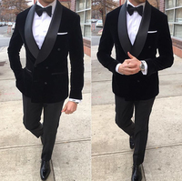 2019 New Fashion Groom's Wear Black Velvet Dinner Jacket Wedding Suits For Men 3 Pieces Suits(Jacket+Pants+Bowtie)