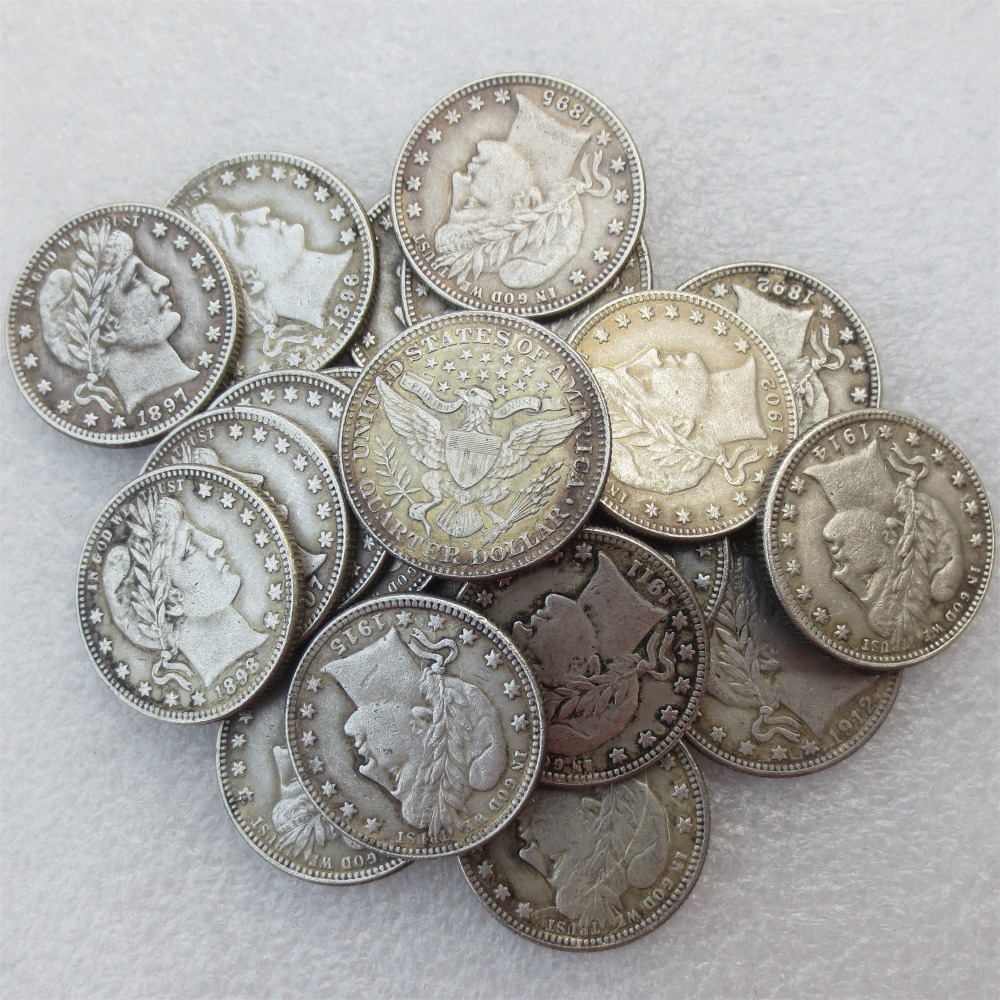 A set of 1892-1915 Barber Quarter Dollars 21pcs Mintmark: S Different Date Material Silv ...