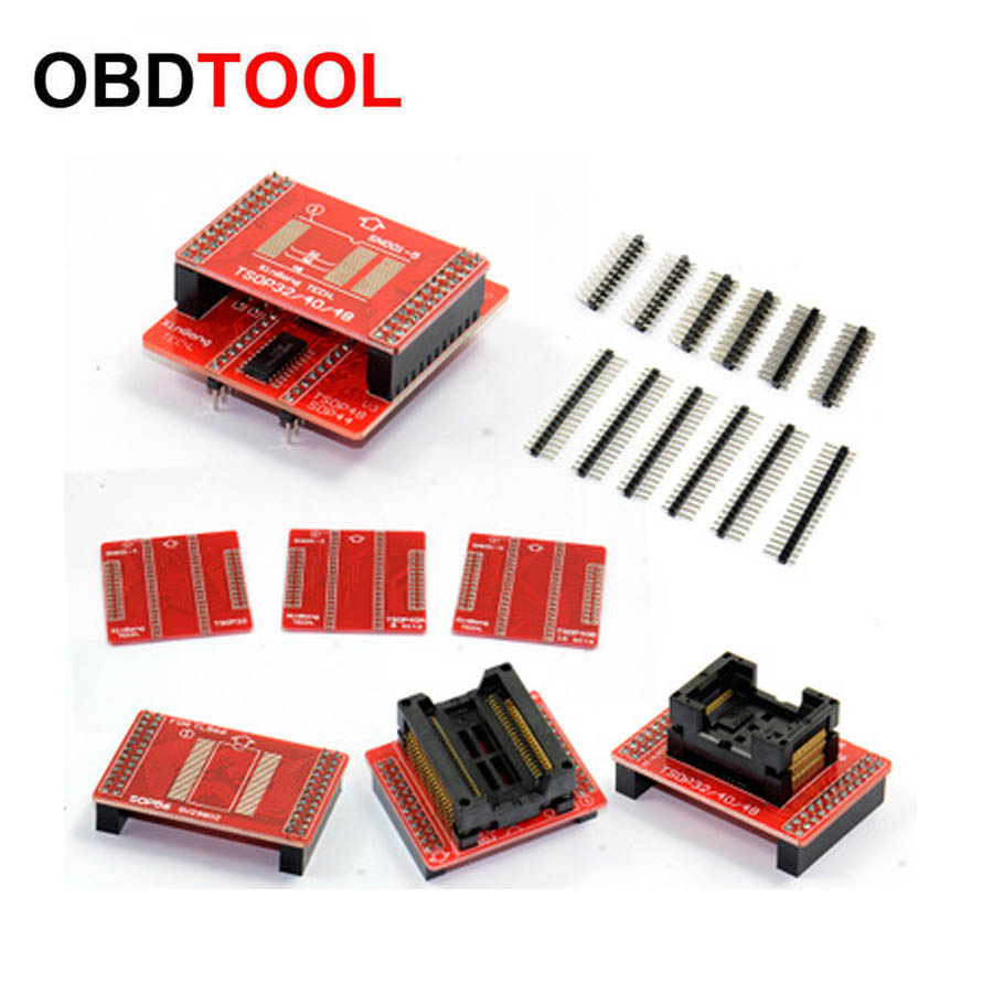 Hot 8pcs Adapters TSOP32 TSOP40 TSOP48 SOP44 SOP56 Adapter Kit for MiniPro Sockets for TL866 TL866A TL866CS Universal Programmer