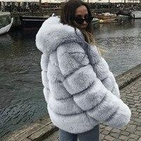 Plus size Women Mink Coats Winter Hooded New Faux Fur Jacket Warm Thick Outerwear Jacket women winter warm Coat