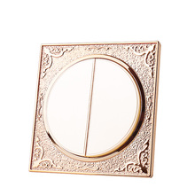 Champagne gold round 86 concealed wall bedside switch socket panel 2 Gang 1 Way Universal