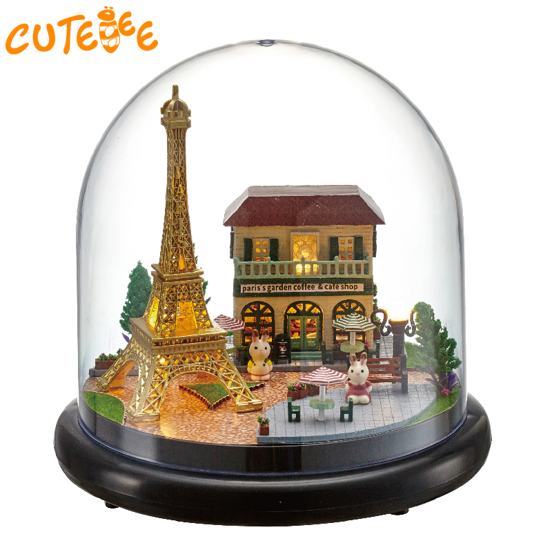 DIY Doll House Wooden Doll Houses Miniature dollhouse Furniture Kit Toys for children Gift Romantic Paris doll houses B018 сумка wooden houses w287 2014
