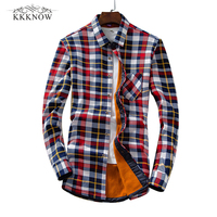 KKKNOW Men Flannel Plaid Shirt Male Social Shirt With Long Sleeve Mens Dress Shirts Casual Slim