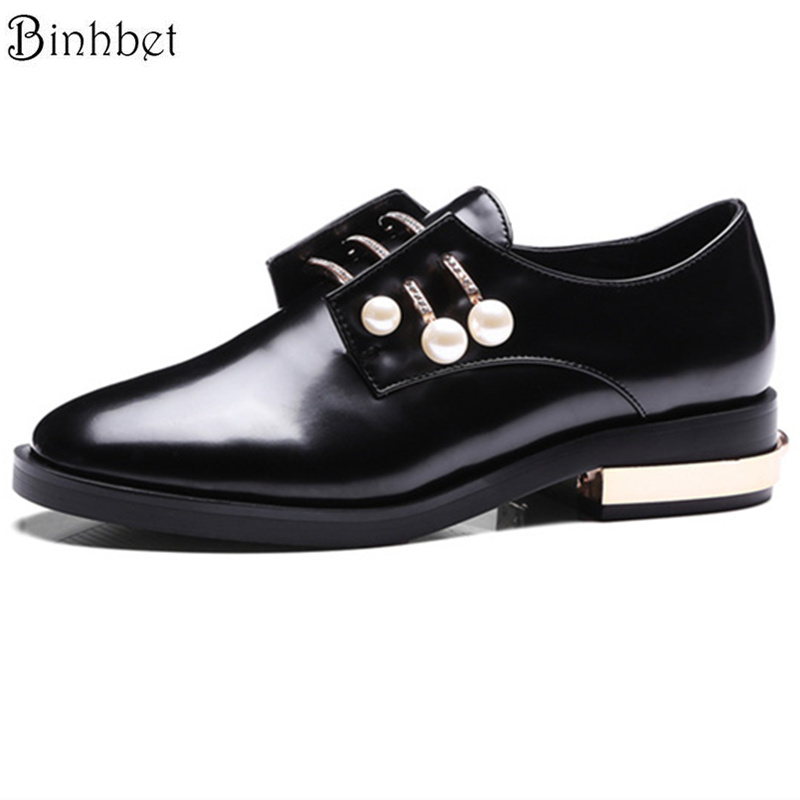 Binhbet Ladies Vintage Pearls Oxfords Shoes Leather Plus Size 43 Loafers Shoes Woman Metal Casual Creepers Flats Chaussure Femme 2017 fashion genuine leather white loafers women flats ladies creepers platform shoes woman espadrilles chaussure femme