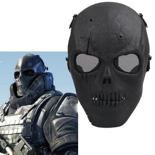 PHFU Softair Maske Totenkopf Schdel Vollschutzmaske Schwarz Militr