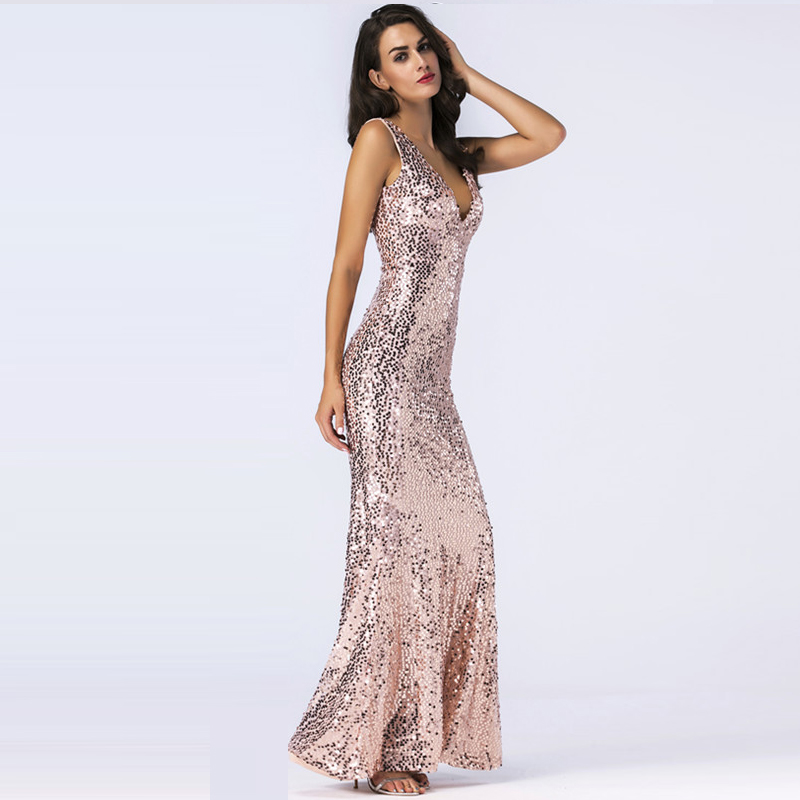 FABCHARMAX mermaid sequin maxi dress v neck chic evening party bodycon  dresses elegant women vestidos sequined sexy long dresses-in Dresses from  Women s ... d53d7b945557