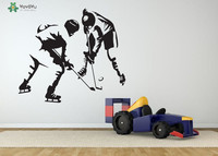 Hockey Player Wall Decal Removable Sports Game Vinyl Wall Stickers For Boys Rooms Art Mural Poster
