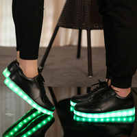 Size 27 46 USB Charging PU Light Up Shoes Kid Shoes Glowing Lumious Sneakers Tennis Led