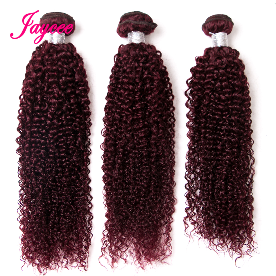 Jaycee Hair Mongolian Curly Wave Remy Hair #99J Red Color 10-26 Inch 100% Human Hair Weave Bundles Can Dyed Darker ...