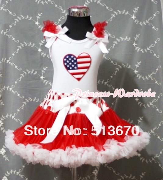 Red White Polka & Minnie Dot Waist Pettiskirt with Patriotic America Heart Red Ruffles and White Bow White Tank Top MAMM169 xmas leopard minnie dots red pettiskirt with christmas minnie print white long sleeve top with minnie dots lacing mamw413