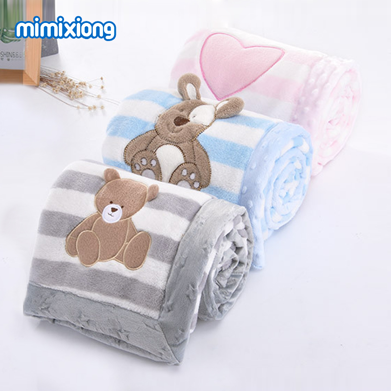 Baby Blanket Newborn Bebes Swaddle Wrap Cute Cartoon Toddler Baby Stroller Bedding Blankets Soft Flannel Children Quilt 100*75cm