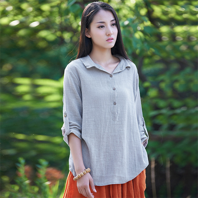 Johnature new clothes 2017 autumn women 39 s shirt soft for Linen women s shirt