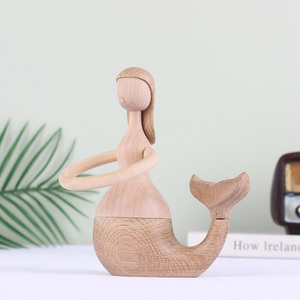 Image 5 - Nordic Denmark Solid Wood Mermaid Home Decorations Soft Wood Crafts Creative Gift Table Arrangement