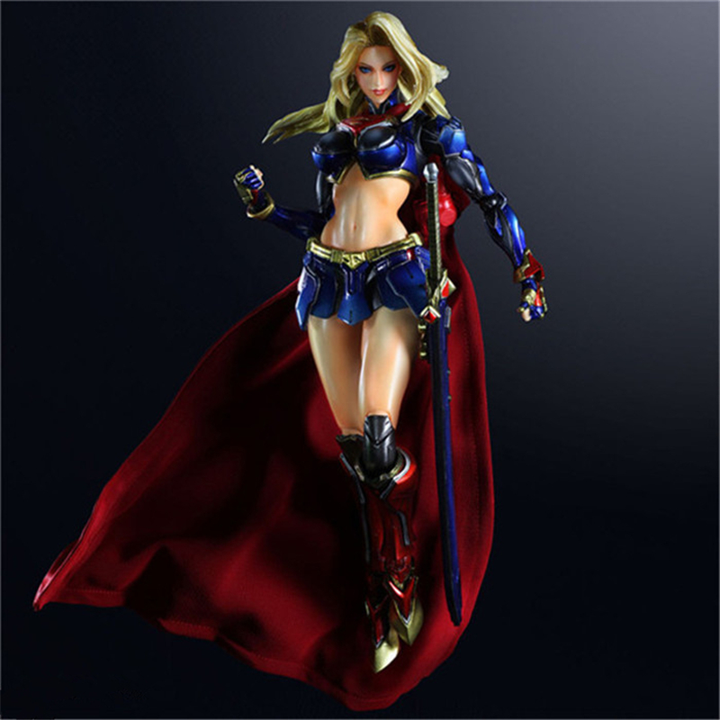 SQUARE ENIX Play Arts KAI DC COMICS NO.7 SUPERGIRL Brinquedos PVC Action Figure Juguetes Model Doll Kids Toys Figurine 25cm dc comics designer series darwyn cooke batman supergirl harley quinn pvc action figure collection model toys 7 18cm