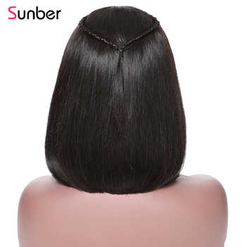 Sunber Straight Short Lace Front Human Hair Wigs Pre Plucked With Baby Hair Brazilian Remy Hair Bob Wig 8-14Inch Free Shipping