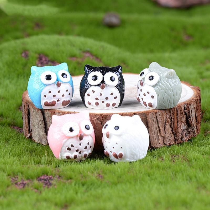 5Pcs Owls Miniature Mini Resin Bonsai Home Garden Micro Landscape Succulent Plant Pots Craft Fairy Decor(random Color)