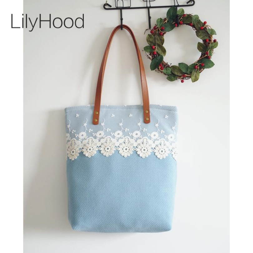 ФОТО 2016 Teenager Autumn Light Blue Lace Wool Tote Bag Lady Pastel Candy Color Top Handle Book Shopper Fabulous Gift Shoulder Bags