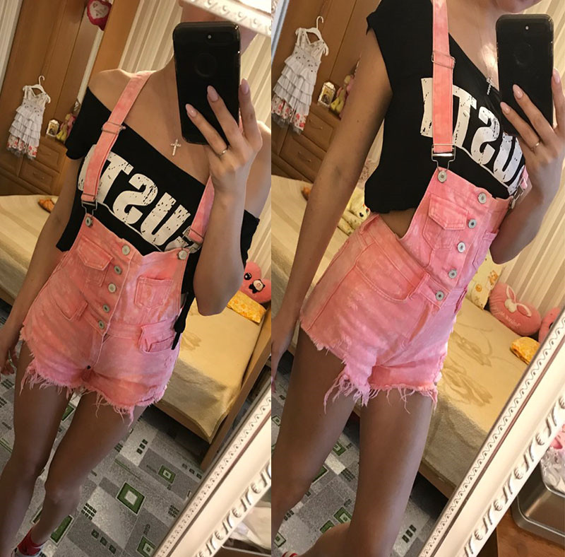 The new college wind denim strap shorts female summer hole loose Korean students was thin sling tide (33)