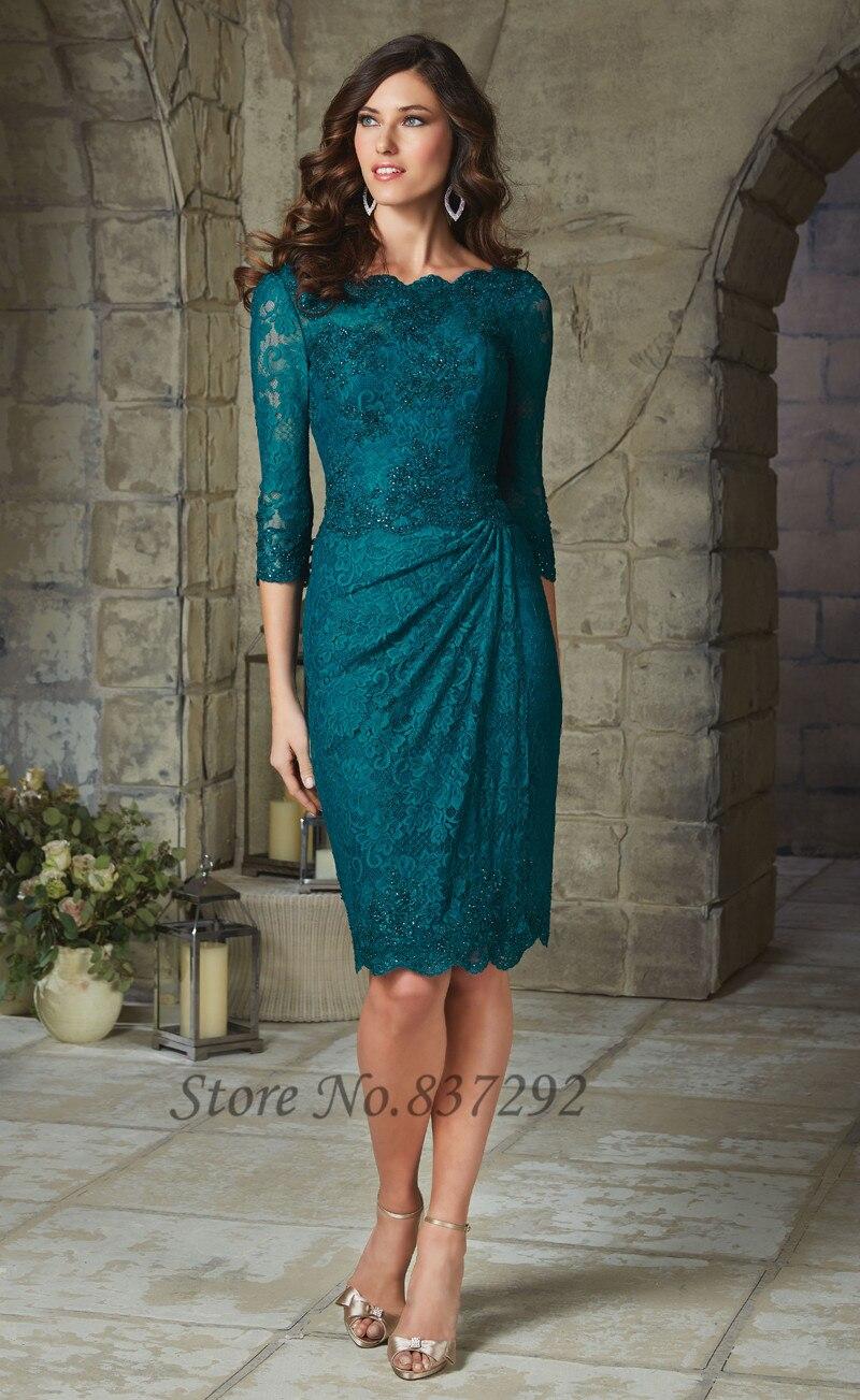 Aliexpress.com Comprar Elegante púrpura verde cortos lf2739 madre de la novia vestidos encaje media manga 2016 con cuentas madrina vestidos V volver