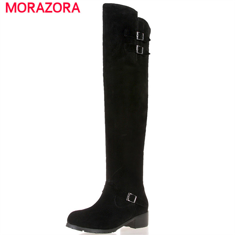 MORAZORA Med heels shoes woman in autumn winter over the knee boots fashion cow suede top quality womens boots big size 34-45 a woman kneeling in the big city