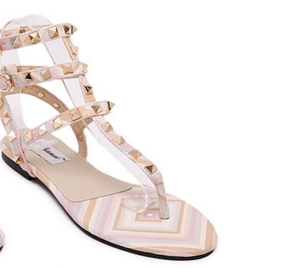 Avec black Green 43 Boucle Mode La Vert Sangle 44 pink Sandalias Appartements Chaussures Sandales D'été white Taille Flip Rivets 45 Gladiateur Femmes Flop De Plus Des Femme xAn4q01