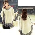 2016 Women Batwing Sleeve Tassels Hem Style Cloak Poncho Cape Tops Knitting Sweater Coat Shawl