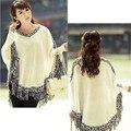 2016 Women Batwing Sleeve Tassels Hem Style Cloak Poncho Cape Tops Knitting Sweater Coat Shawl