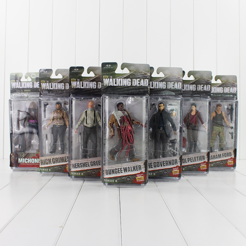 7Pcs/Lot AMC TV Series NECA The Walking Dead Abraham Ford Bungee Walker Rick Grimes The Governor PVC Action Figure Model Toys