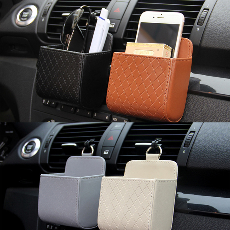 Auto Vent Outlet Trash Box PU Leather Car Mobile Phone Holder Storage Bag Organizer Automobile Hanging Box Car Styling 3 Colors(China)