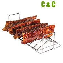 Kamado Grill Parts BBQ Rib Rack work with Auplex 21 inch and 23.5 inch kamado Grill Rib Rack Size 41.5x18.5x12.1CM