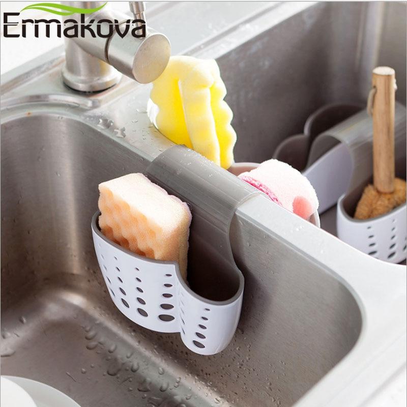 ERMAKOVA 2 Sides Sponge Holder Sink Caddy Soap Holder For Kitchen  Organization Plastic Storage Baskets Hanging Strainer Storage