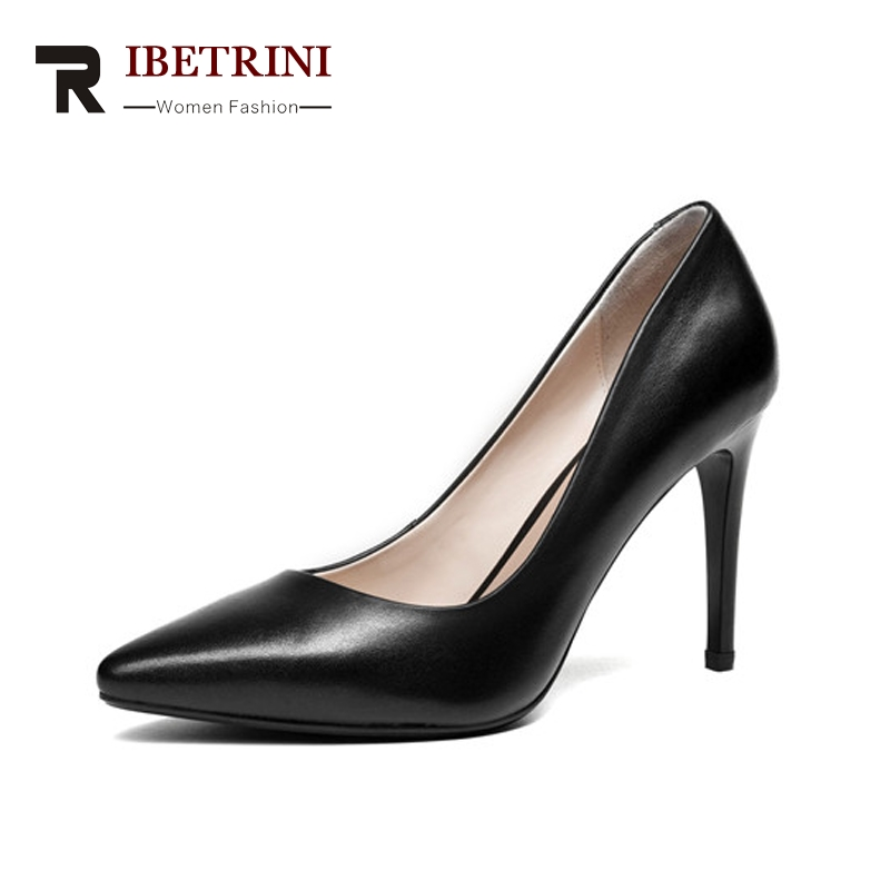 RIBETRINI Women's Patent Leather Party Wedding Shoes Woman Sexy Pointed Toe High Heels Less Pumps Size 34-39 avvvxbw 2017 pumps high heels shoes woman pointed toe patent leather wedding shoes sexy thin heels shoes sapatos feminino c512