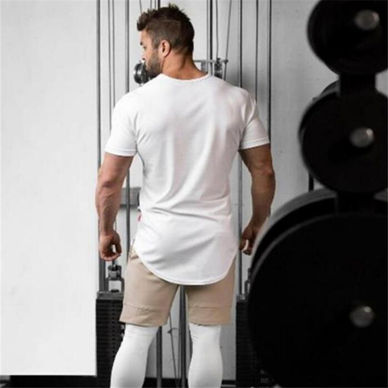 Brand Clothing Fashion   T     Shirt   Men Extended Scallop Hem Short Sleeve   T  -  Shirt   Fitness tshirt Cotton Crossfit Bodybuilding   T     shirt